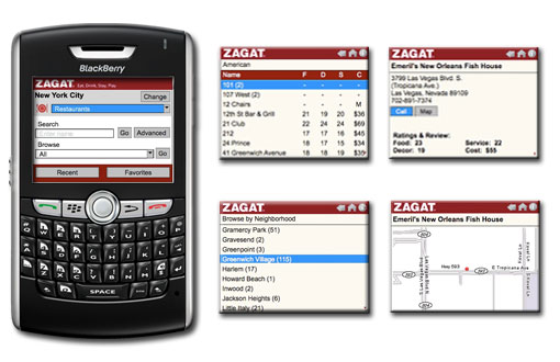 Zagat to Go App For BlackBerry