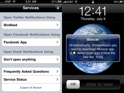 Push Notifications for Facebook and Twitter with Boxcar App for iPhone