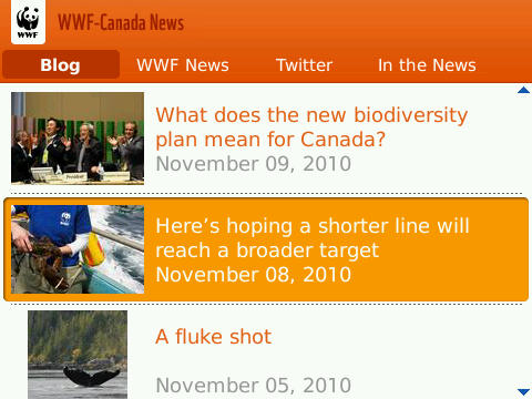 Keep on top of environmental news in Canada with WWF Canada News app for BlackBerry
