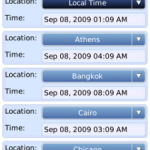 World Clock app for Blackberry
