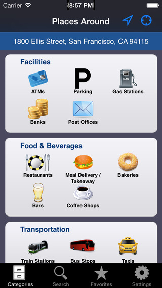 Places Around App for iPhone